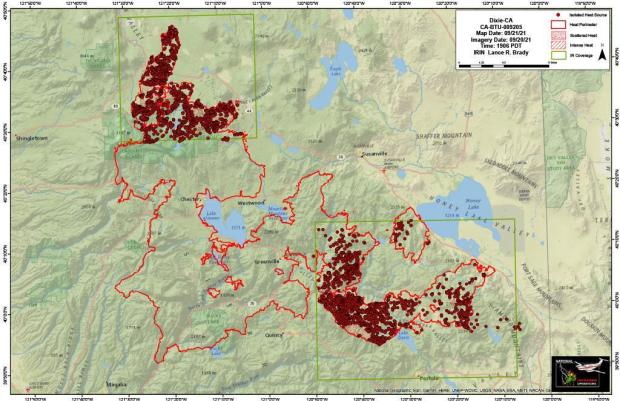 Dixie Fire IR Map for 9-21-2021