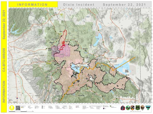 Dixie Fire PIO Map for Sept. 22, 2021