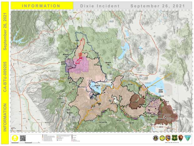 Dixie Fire PIO Map for Sept. 26, 2021