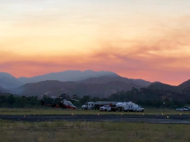 Picture of Mill Fire taken from Tusi Helibase in Hunter Liggett on the first evening of the fire, Tuesday 7/30/2019
