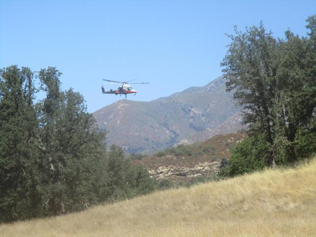 Helicopter dipping from Merle Ranch