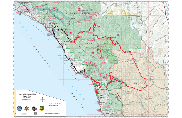 A map showing the perimeter of the Dolan Fire and landmarks such as Big Sur and Fort Hunter Leggitt.