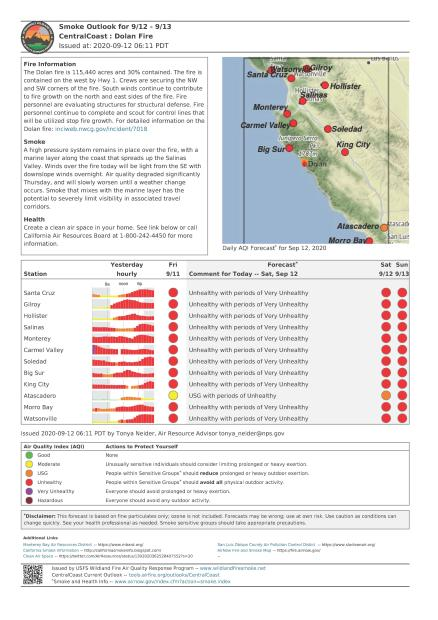 A document showing the smoke forecast for California's central coast Sept. 12 and 13.