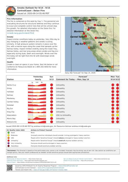 A graphic showing the projected air quality for communities near the Dolan Fire in Monterey County California.