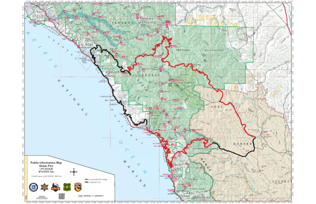 A map showing the perimeter of the Dolan Fire as of September 15, 2020.