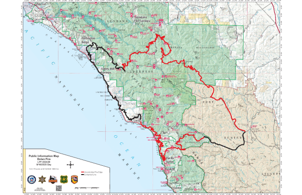 Map image showing the perimeter of the Dolan Fire, now over 122,000 acres.