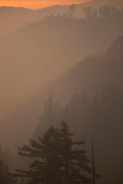 Silhouettes of trees and the hills amid dense smoke are shown.