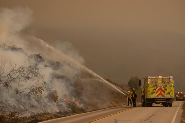 Firefighters standing next to a fire engine spray water with hoses on burning vegetation.