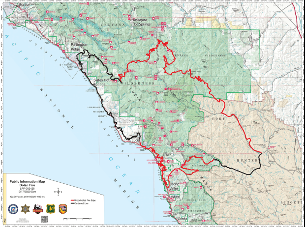 A map image showing the perimeter of the Dolan Fire in Monterey County, CA.