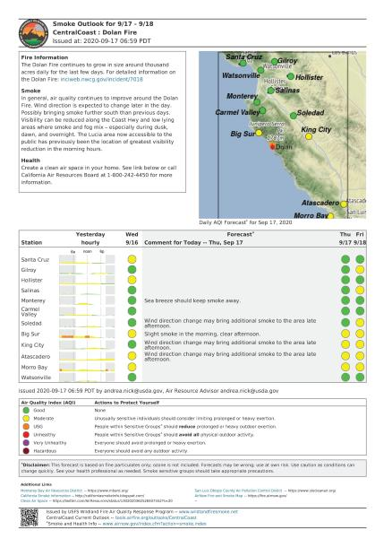 A graphic showing the projected air quality for communities near the Dolan Fire in Monterey County California
