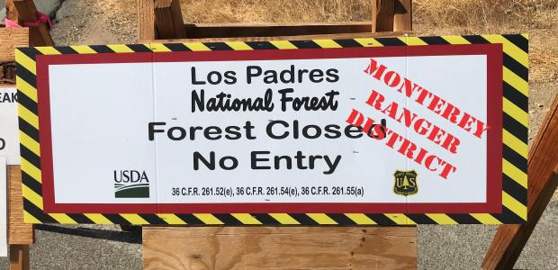 stating the Monterey Ranger District of the Los Padres NF is still closed