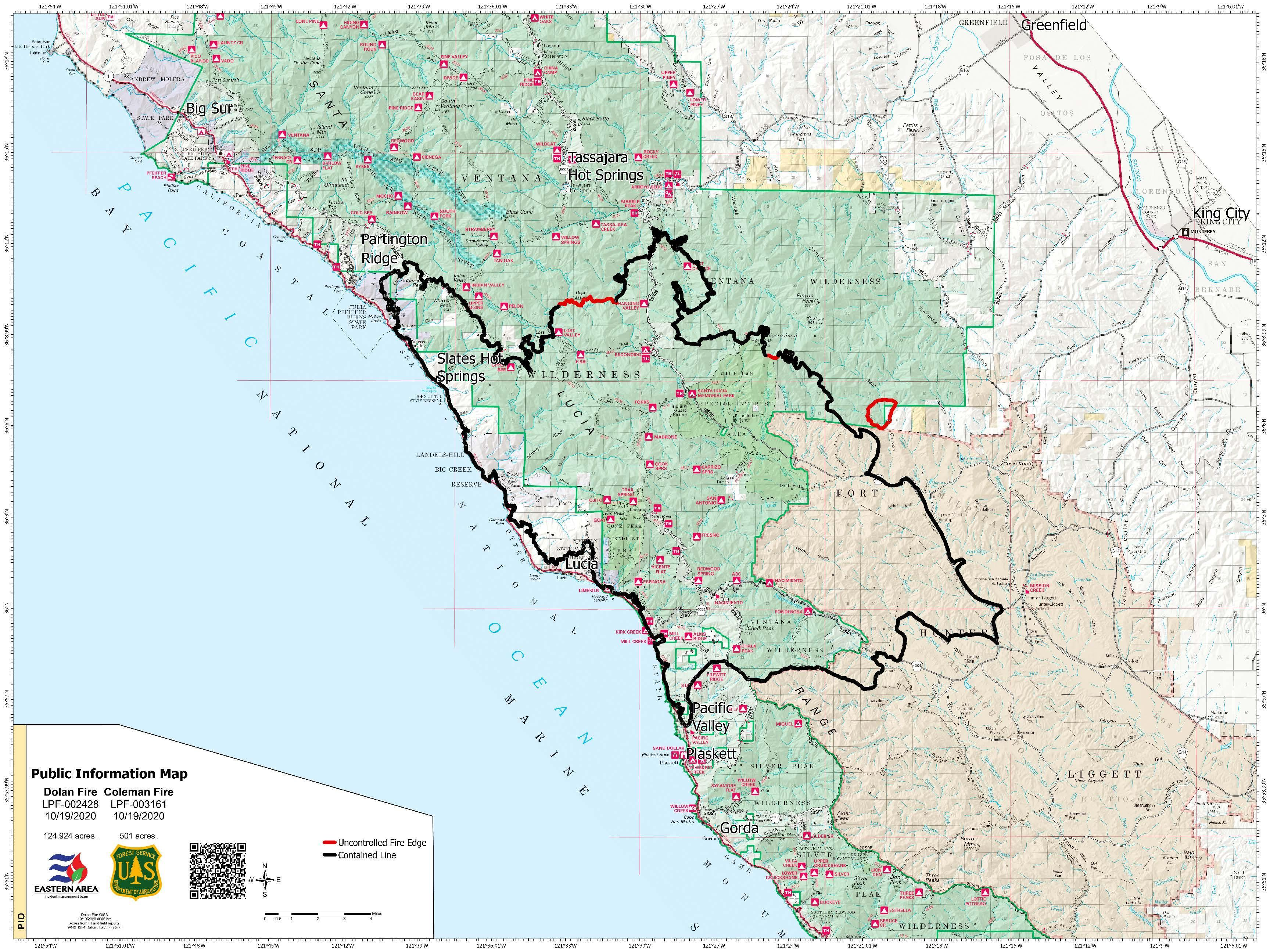 topographic map of Dolan fire area