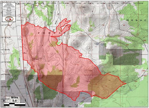 Shows fire area at 1400 on July 29