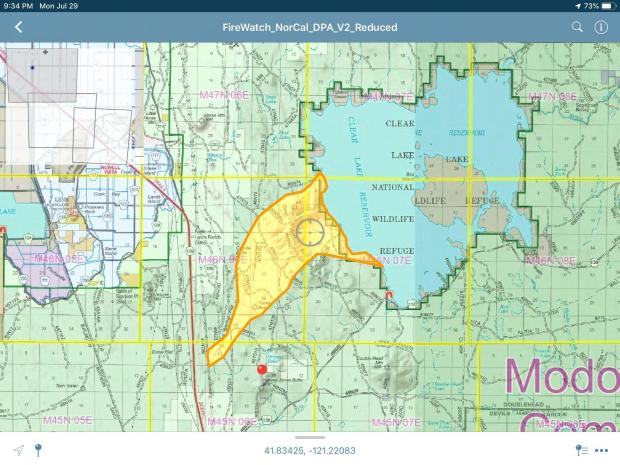 Fire area including growth to Clear Lake occurring late on July 29
