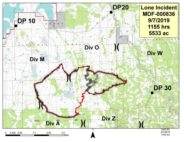 Shows fire perimeter on 7 Sept. 2019