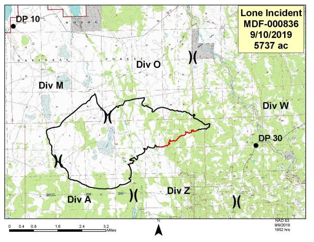 Perimeter map of the Lone Fire