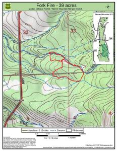 Latest map showing Fork Fire perimeter