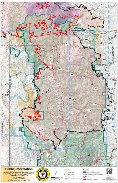 August Complex South Zone, Fire map, 9.27.20
