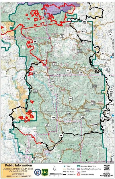August Complex South Zone Fire Map - September 30, 2020