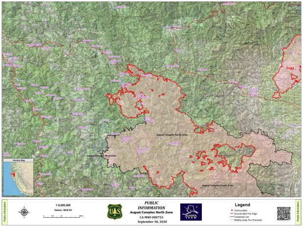 Map of the perimeter of the August Complex North Zone Fire