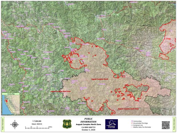 Map showing perimeter of August Complex North Zone fire