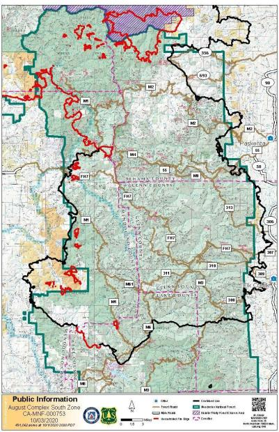 Map showing the fire perimeter of the August Complex South Zone showing county boundaries, national forest land and BLM lands, as well as road markers for some state. county and forest roads.