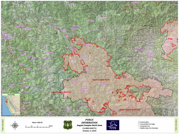 Map showing the perimeter of the August Complex North Zone Fire and surrounding communities.