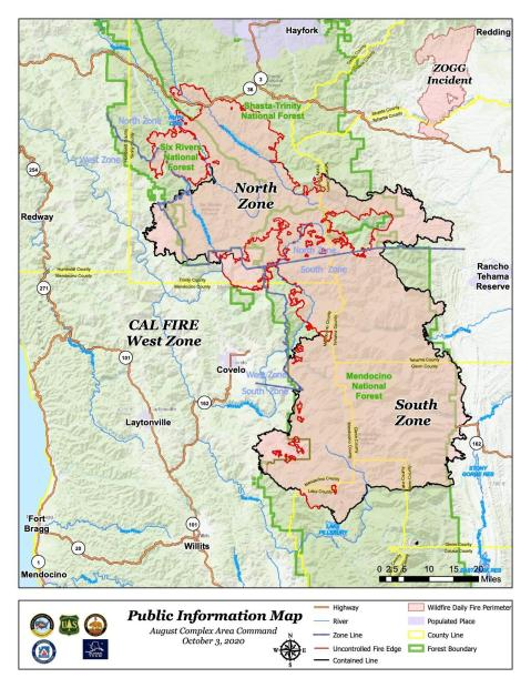 Map showing the entire August Complex fire and zone breakdown