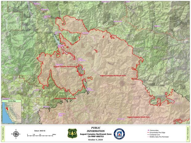 Map showing the northern portion of the August Complex Fire and new divisions between Incident Maanagment Teams.
