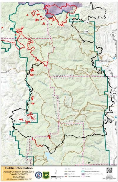 MAp shows updated containment lines and burn areas as of 10.4.20