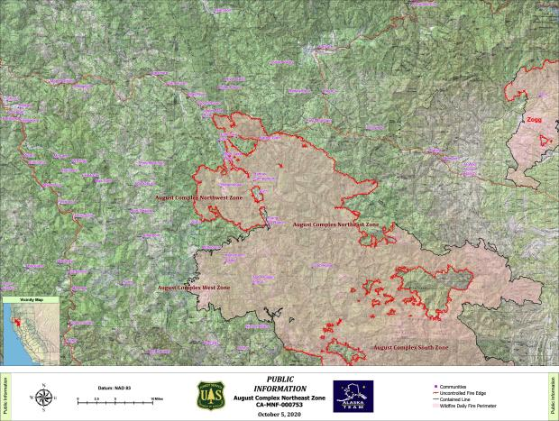 Map showing August Complex Northeast Zone fire map with surrounding communities