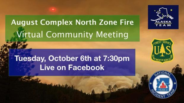 A graphic with a forest service and other logos announcing a virtual public meeting on October 6, 2020 to be hosted on the Six Rivers and Mendocino national Forest Facebook pages.