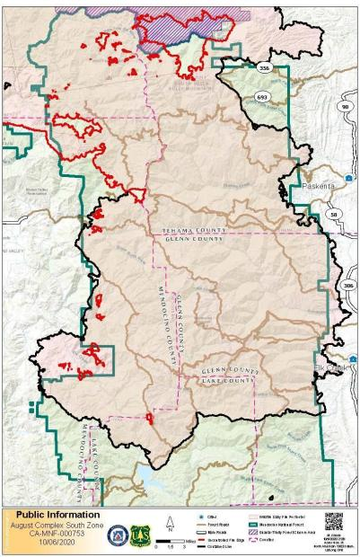Map showing fire perimeter for August Complex South Zone and surrounding communities