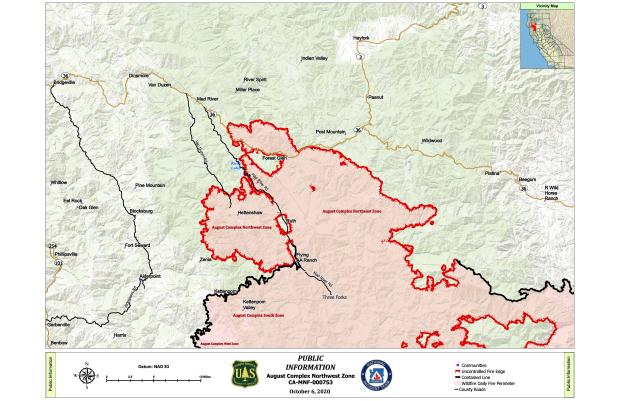 Map showing fire perimeter for August Complex Northwest Zone and surrounding communities.