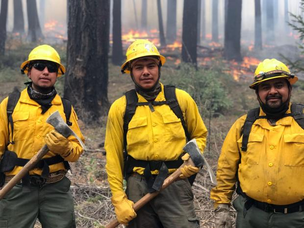 Three firefighters, two of them holding Pulaski tools, pose for a photo with fire in the background.