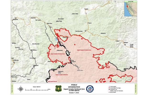 A map showing the perimeter of the Northwest Zone of the August Complex Fire on October 7.