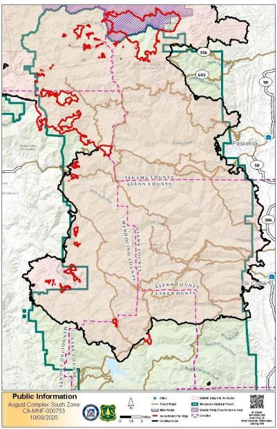 Map of the perimeter of the August Complex Fire on the Mendocino National Forest, with the perimeter shown in red and black.