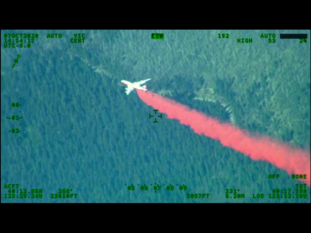 A large jet airplane is seen from above, dropping a long trail of red fire retardant on a forest.
