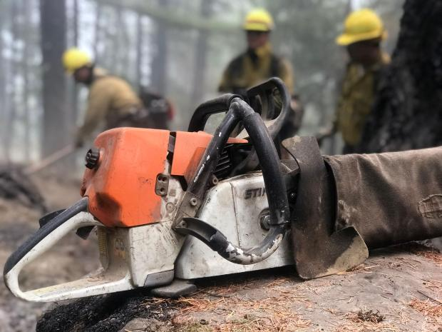 A chain saw sits on a stump, with three firefighters out of focus in the background.