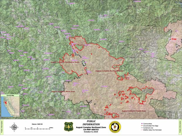Map showing fire perimeter of August Complex Northeast and Northwest zones, with surrounding communities