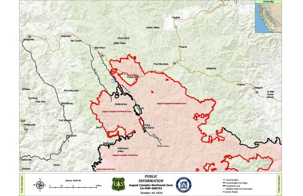A map showing the August Complex Fire Northwest Zone perimeter and surrounding  communities.