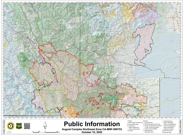 Fire perimeter map showing Northeast Zone of August Complex Fire for Oct 10