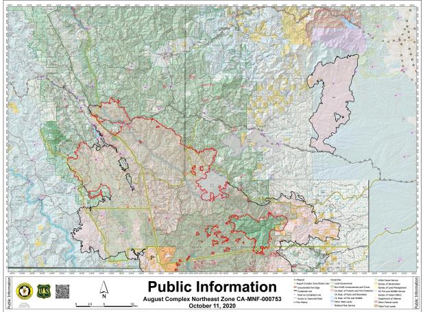 A map showing the area described as the Northwest Zone of the August Complex Fire on October 11, 2020.