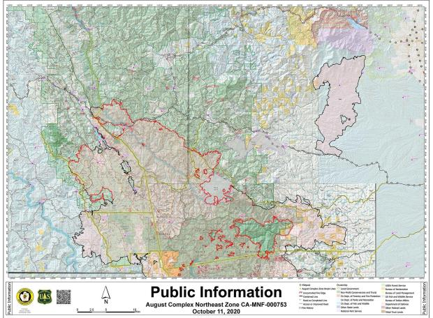 Fire perimeter map for August Complex Northeast Zone with surrounding communities