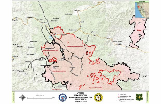 Fire perimeter map for Northeast and Northwest Zones of the August Complex, with surrounding communities