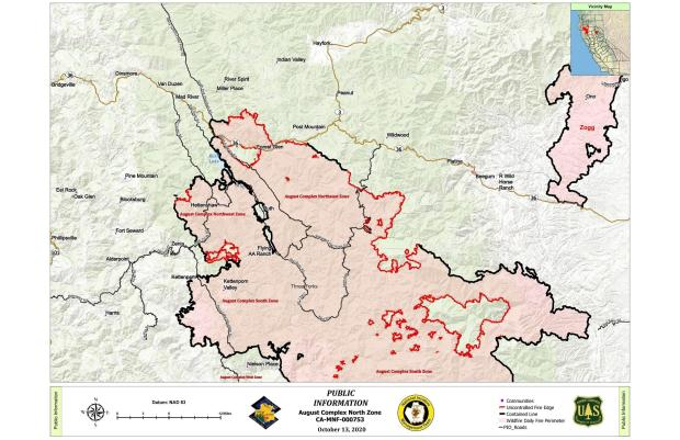 Fire perimeter map for the Northeast and Northwest Zones of the August Complex, with surrounding communities