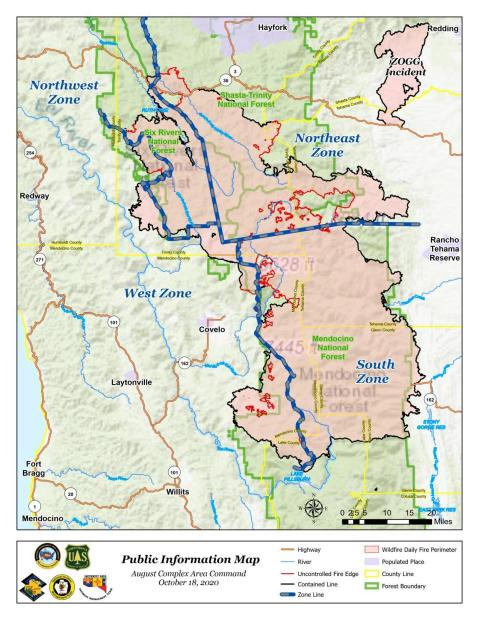 Fire perimeter map for August Complex, with zone divisions and surrounding communities