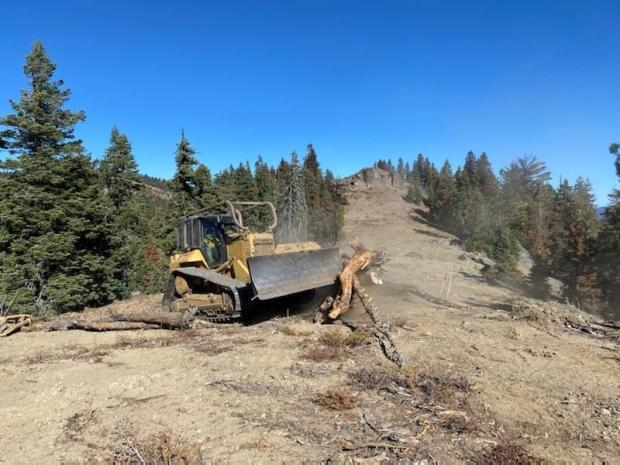 A bulldozer pushing woody material into a fire line