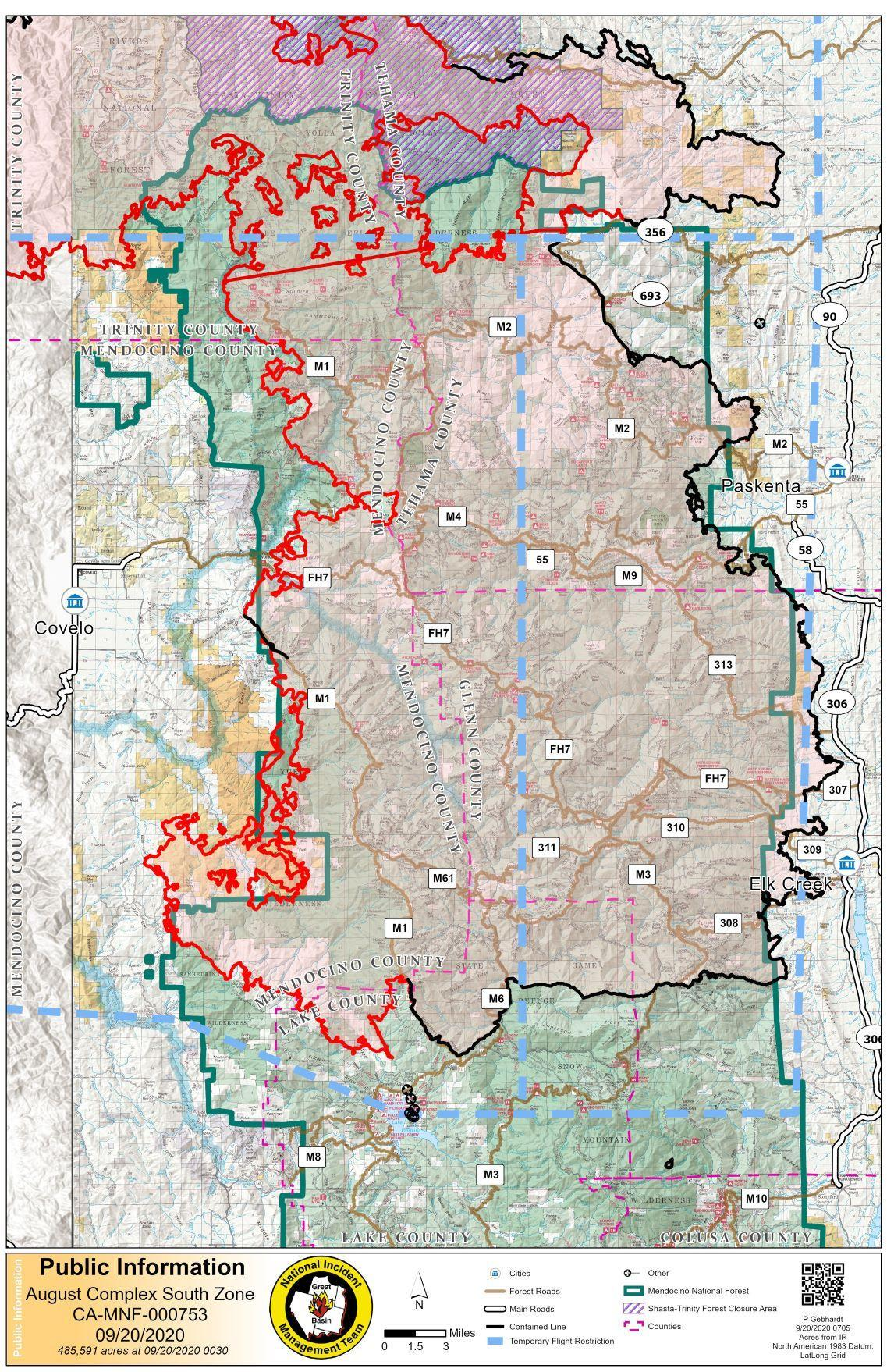 Map showing fire perimeter over Mendocino National Forest visitor map