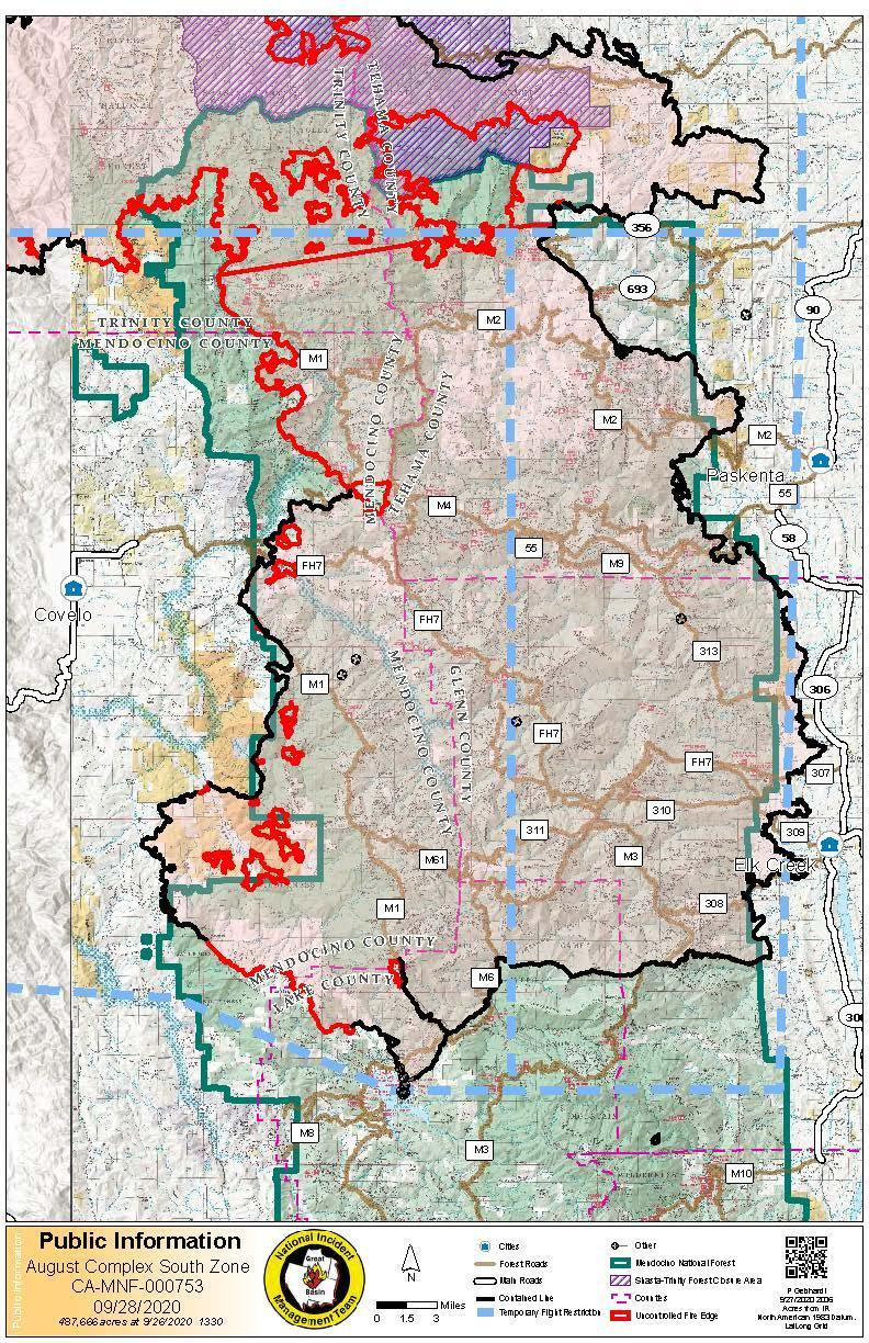 South Zone August Complex Fire Map 9.29.20